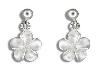 Sterling Silver Hawaiian Plumeria Flower Dangling Hawaiian Jewelry Earrings from Maui, Hawaii
