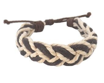 Hawaiian Braided Brown and White Cord Handmade Sailor's Surfer-Style Bracelet from Maui, Hawaii