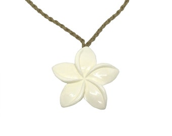 Hawaiian Jewelry Hand Carved Buffalo Bone Plumeria Flower Pendant from Maui, Hawaii
