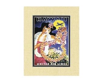 Hawaii Vintage Art Print - United Airlines Lei from Maui, Hawaii