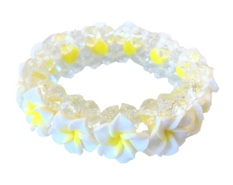 Hawaiian Jewelry White Fimo Plumeria Flower and Clear Beads Elastic Bracelet from Maui, Hawaii