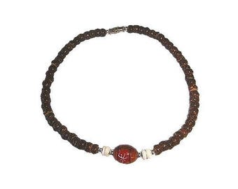 Hawaiian Jewelry Handmade Coconut, Puka Shell, and Koa Bead Flower Anklet from Maui, Hawaii