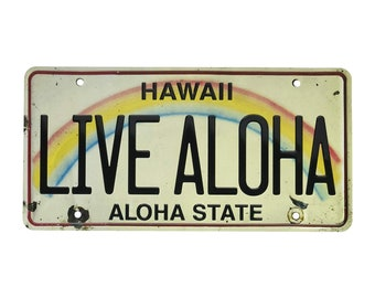 6in x 12in Vintage Hawaiian Embossed License Plate - Live Aloha