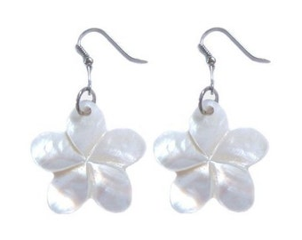 Hawaiian Jewelry Handmade Hand Carved White Plumeria Flower Shell Hawaii Earrings From Maui Hawaii