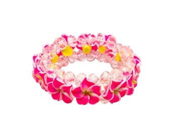 Hawaiian Jewelry Hot Pink Fimo Plumeria Flower and Crystal Bead Elastic Bracelet from Maui, Hawaii