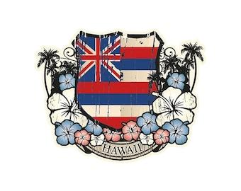 Hawaiian Flag Emblem Sticker Decal from Maui, Hawaii
