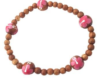 Hawaiian Jewelry Handmade Koa Wood Bead Pink Flower Elastic Bracelet from Maui, Hawaii