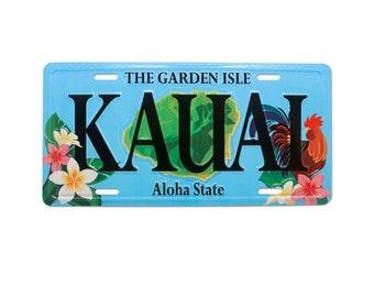 6in x 12in Vintage Kauai Rooster Embossed Garden Isle License Plate - Hawaii