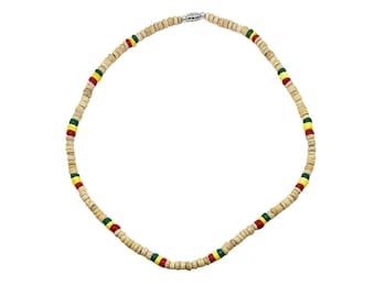 Hawaiian Jewelry Rasta Tan Coconut Bead Surfer Necklace from Maui, Hawaii