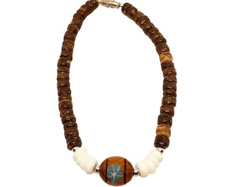 Hawaiian Jewelry Handmade Coconut Bead BRACELET With Puka Shells and Koa Wood Bead from Maui, Hawaii