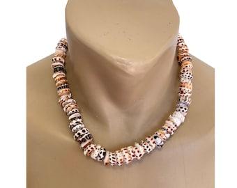 RARE-Hawaiian Jewelry Handmade XL Tiger Puka Shells Choker Necklace with Koa Wood Bead Accents from Maui, Hawaii