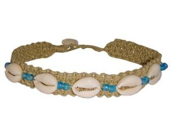 Hawaiian Jewelry Cowry Shell Handmade Double Blue Bead Hemp Anklet from Maui, Hawaii