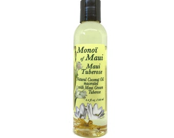 Monoi of Maui Tuberose Flower Natural Coconut Oil for Skin, Hair,Tanning, & Massage from Maui, Hawaii