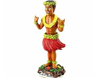 """Hawaiian Dashboard Wiggling 4"""" Hula Boy Doll Shaka Sign Hawaii Collectible"""