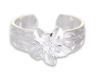 Hawaiian Jewelry Sterling Silver Hawaiian CZ Plumeria Flower Toe Ring from Maui, Hawaii