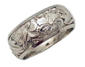 Hawaiian Heirloom Jewelry 14k White Gold 8mm Cut Out Hibiscus Dome Ring from Maui, Hawaii