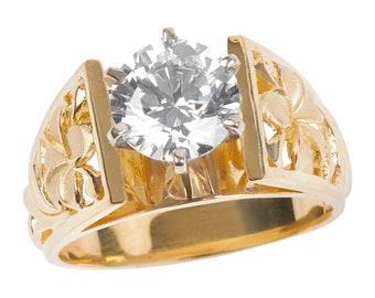 Hawaiian Heirloom Jewelry 14k Yellow Gold 2 Carat Cubic Zirconia Wedding Engagement Ring