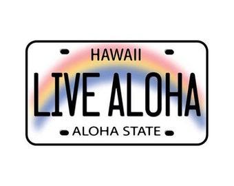 Live Aloha License Plate Car Decal Bumper Sticker from Maui, Hawaii