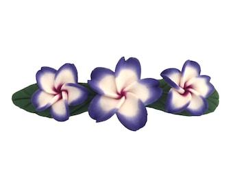 Hawaiian Purple Three Plumeria Flower Poly Clay Hair Barrette from Hawaii from Maui, Hawaii