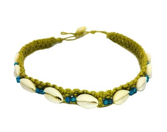 Hawaiian Jewelry Cowry Shell Handmade Double Blue Bead Hemp Choker Necklace from Maui, Hawaii