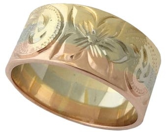 Hawaiian Heirloom Jewelry 14 Karat Gold 9mm Tri-Color Ring from Maui, Hawaii