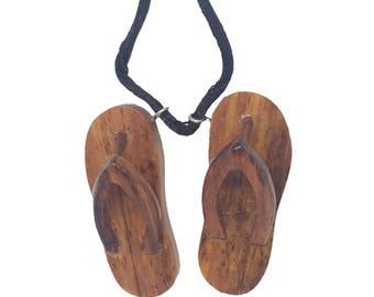 Hawaiian Jewelry Koa Wood Hand Carved Slipper Necklace Pendant From Maui Hawaii