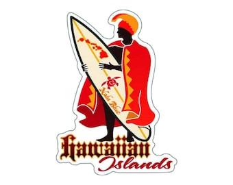 Hawaiian Islands King Kamehameha Surfboard Decal Sticker from Maui, Hawaii