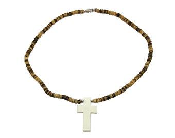 Hawaiian Jewelry Handmade Bone Cross Pendant Coconut Bead Necklace From Maui Hawaii