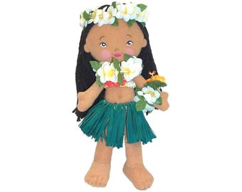 Island Friends 8.5 inch Soft Hawaiian Hula Doll Emma from Maui, Hawaii