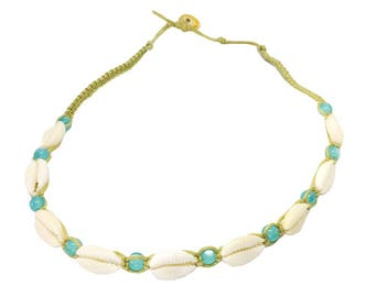Hawaiian Jewelry Cowry Shell Handmade Single Blue Bead Hemp Choker Necklace from Maui, Hawaii