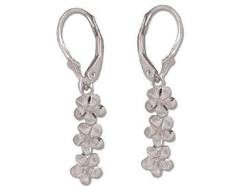 Hawaiian Heirloom Jewelry 14 Karat White Gold 3 Dangling Plumeria Flower Lever Back Earrings from Maui, Hawaii