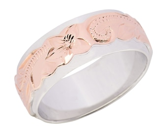 Hawaiian Jewelry Sterling Silver Flower Double Band Pink Gold Finish  from Maui, Hawaii