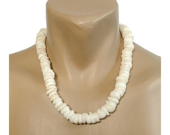 Hawaiian Jewelry Handmade Extra Large Puka Shells Choker Big Kahuna Necklace with Koa Wood Bead Accents