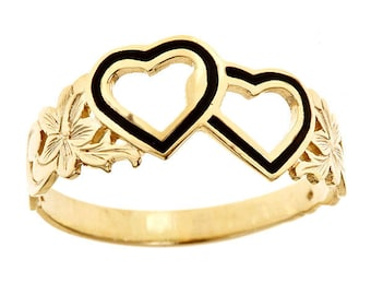 Hawaiian Heirloom Jewelry 14 Karat Gold Double Heart Black Enamel Ring from Maui, Hawaii