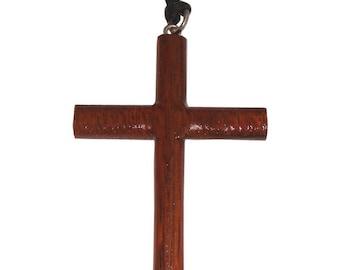 Hawaiian Jewelry Handmade XL Koa Wood Carved Cross Pendant Necklace From Maui Hawaii