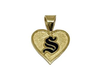 Hawaiian Heirloom Jewelry Custom 14K Yellow Gold Raised Enamel Initial Heart Pendant from Maui, Hawaii