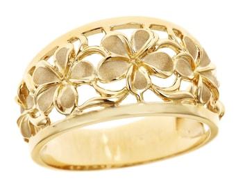 Hawaiian Heirloom Jewelry 14k Yellow Gold Cut Out 5 Plumeria Taper Ring from Maui, Hawaii
