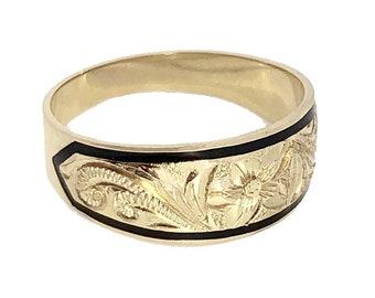 Hawaiian Heirloom Jewelry 14 Karat Gold 8mm Tapered Black Enamel Border Ring from Maui, Hawaii