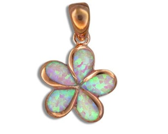 Sterling Silver Pink Rose Gold Finish Synthetic Pink Opal Plumeria Flower Hawaiian Jewelry Pendant