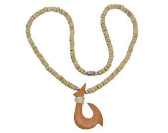 Hawaiian Jewelry Handmade Wood Fish Hook Coconut Shell Necklace From Maui Hawaii
