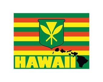 Kanaka Maoli Flag Hawaiian Decal Vinyl Car Sticker from Maui, Hawaii