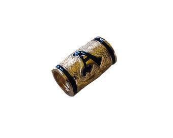 Hawaiian Heirloom Jewelry 14K Gold Initial Bead Pendant with Black Enamel