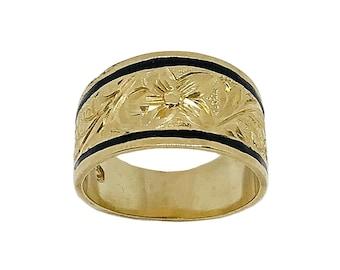 Hawaiian Heirloom Jewelry 14 Karat Gold 12mm Tapered Black Enamel Border Ring from Maui, Hawaii