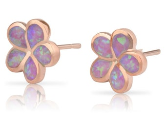 Sterling Silver Rose Gold Synthetic Pink Opal Plumeria Flower Hawaiian Jewelry Earrings from Maui, Hawaii