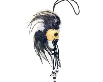 Hawaiian Black and White Handmade Ikaika Warrior Helmet From from Maui, Hawaii