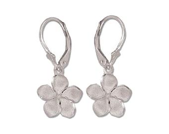 Hawaiian Heirloom Jewelry 14 Karat White Gold 12mm Plumeria Flower Lever Back Earrings from Maui, Hawaii