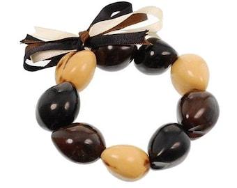 Hawaiian Jewelry Handmade Hawaiian TRI-COLOR Kukui Nut Elastic Bracelet from Maui, Hawaii