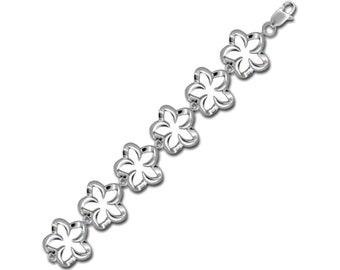 Hawaiian Jewelry Sterling Silver Cut-Out Hawaii Plumeria Flower Bracelet from Maui, Hawaii