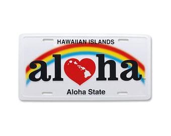 6in x 12in Vintage Hawaiian Embossed Heart of Hawaii Aloha License Plate