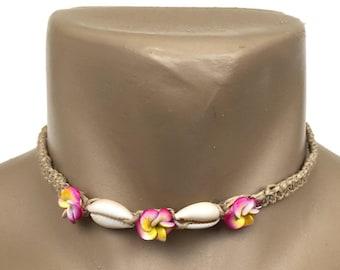 Hawaiian Hemp Handmade Plumeria Flower Cowrie Shell Choker / Necklace from Maui, Hawaii